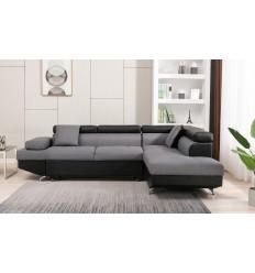 Canapé d'angle droit convertible tissu gris / PU noir MILO