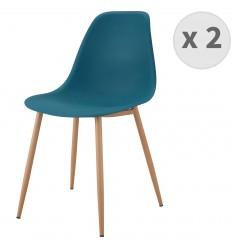ESTER-Chaises scandinaves bleu canard pieds métal bois (X2)